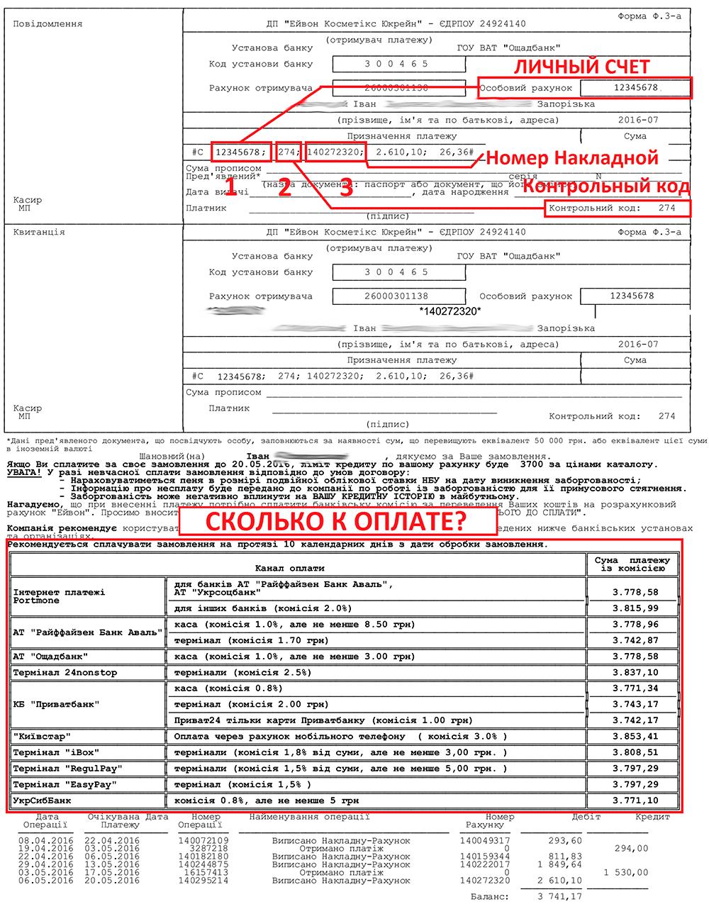 Отправка получение и оплата заказа avon Украина Инвойс Эйвон